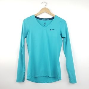 Nike Pro Teal V Neck Long Sleeve Performance Tee